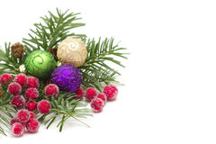 Decorative branch with christmas balls Royalty Free Stock Images