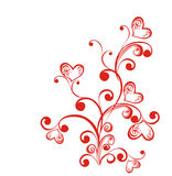 Decorative branch with hearts. Vector illustration Stock Photography