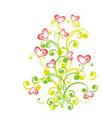 Decorative branch with hearts. Vector illustration Royalty Free Stock Image