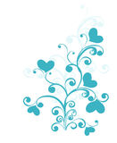 Decorative branch with hearts. Vector illustration Royalty Free Stock Photos