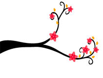 Decorative Branch Tree Silhouette With Red Flower and Yellow Leaf Stock Image