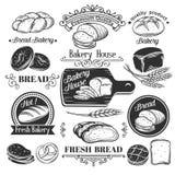 Decorative bread bakery label. And vintage old page design elements. Vector illustration royalty free illustration
