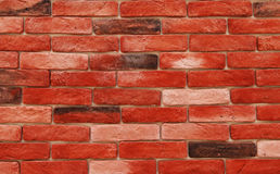 Decorative bricks wall. Red decorative bricks wall close-up as background royalty free stock photography
