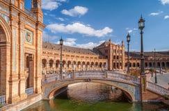 Decorative bridge in Architectural Complex of Plaza de Espana. Seville Stock Photography