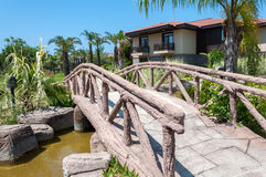 Decorative bridge in front  house Stock Photos