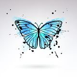 Decorative Bright Blue Butterfly. On a light background Royalty Free Stock Photos