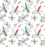 Decorative bright floral seamless pattern. Vector summer background with fantasy flowers. Royalty Free Stock Images