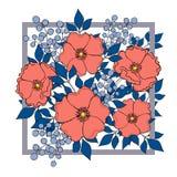 Decorative bright flowers composition in square border  Stock Image