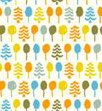 Decorative bright pattern with trees  Seamless doo Stock Image