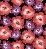 Decorative bright red floral seamless pattern Stock Photos