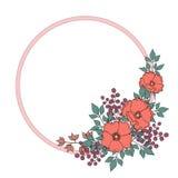 Decorative bright round border with wild rose flowers Stock Photos