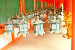 Decorative bronze lanterns in Kasuga Taisha of Nara Stock Photos