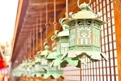 Decorative bronze lanterns in Kasuga Taisha of Nara Royalty Free Stock Image