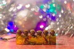 Decorative brown bottles Stock Photos
