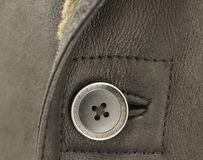 Decorative brown button and real sheep leather Stock Photography