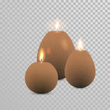 Decorative brown candle white pearl color vector. Decorative brown candles set. Vector 3D realistic  round candle sticks with burning flames on transparent Royalty Free Stock Images