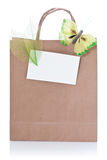 Decorative brown shopping bag stock image