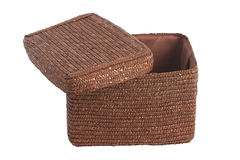 Decorative brown wicker basket with lid Stock Photography
