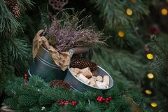 Decorative Bucket of wine corks. Christmas Tree Branch Garland with Pine Cones and Red Holly Berries. Christmas is comming royalty free stock photo