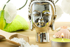 Decorative buddha figure with bath salt Stock Photography