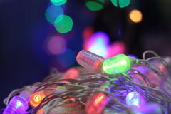 Decorative Bulbs Line. A line of colorful decorative bulbs lit on the occasion of Diwali / Christmas in India Stock Photos