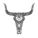 Decorative bull skull in tattoo tribal style. Hand drawn vector illustration Royalty Free Stock Image