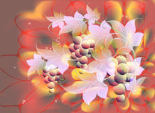 Decorative bunches of grapes and leaves on autumn background in red and orange shades. EPS10 vector illustration Stock Images