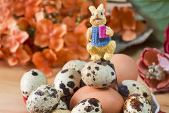 Decorative bunny over easter eggs Stock Images