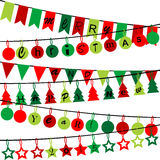 Decorative bunting with Merry Christmas and Happy New Year 2015. On white background Stock Photography