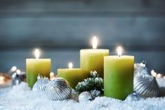 Decorative burning Christmas candles royalty free stock images