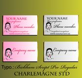 Decorative business card for beauty salons and cosmetics Stock Photo