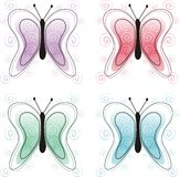 Decorative butterflies. Abstract butterflies in four colors Stock Illustration