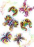 Decorative butterflies of color spots and lines Stock Photo