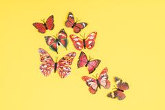 Decorative butterflies. On a colored background Royalty Free Stock Images