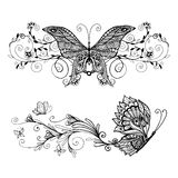 Decorative Butterflies Set Stock Photos
