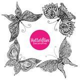 Decorative Butterflies Set Stock Images