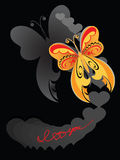 Decorative butterfly. Decorative yellow butterfly against the black background Royalty Free Stock Images