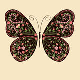 Decorative butterfly with floral ethnic ornament Stock Photos