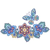 Decorative butterfly with floral patterns for design of cards, invitations.  Royalty Free Stock Photos
