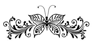Decorative butterfly. With flourish - vector illustration stock illustration