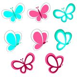 Decorative Butterfly Set. Set of aqua color and pink butterflies with a thin border stock illustration