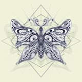 Decorative butterfly for tattoo and for decoration others. Decorative butterfly for tattoo and for decoration  T-shirt bag and others. For coloring page or stock illustration