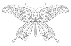 Decorative butterfly. Template for coloring book. Vector decorative butterfly Stock Photo