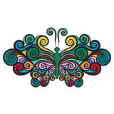 Decorative butterfly with wings curls Royalty Free Stock Images