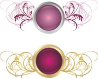 Decorative Buttons With Ornament Stock Photography