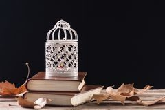 Decorative cage with candle burning on retro books on wooden table stock photo
