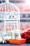 Decorative cage and gift boxes. Stock Image