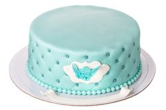 Decorative cake for the boy`s baptism. Stock Image