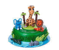 Decorative Cake tale with animals. Royalty Free Stock Images