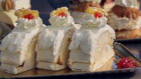 Decorative cakes. Steady Footage shot with dolly stock video footage
